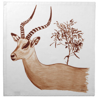 Impala Antelope Animal Wildlife Drawing Sketch Napkin