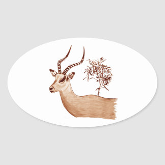 Impala Antelope Animal Wildlife Drawing Sketch Oval Sticker