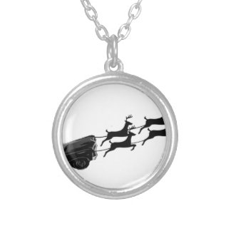 Impala in Flight Silver Plated Necklace
