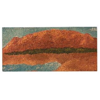 Impasto Mountain Painting Wood USB 2.0 Flash Drive