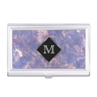 Impatient Office | Monogram Purple Gold Splatter Business Card Holder