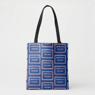 Impeach Trump Red and White Rectangles Geometric Tote Bag