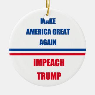Impeach Trump Round Ceramic Ornament