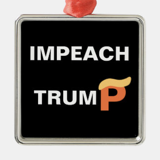 Impeach Trump Silver-Colored Square Ornament