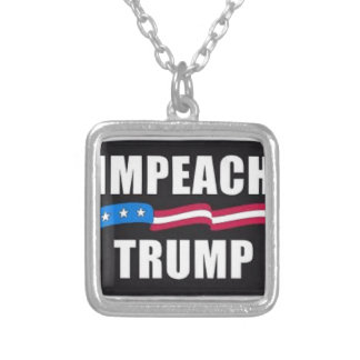IMPEACH TRUMP SILVER PLATED NECKLACE