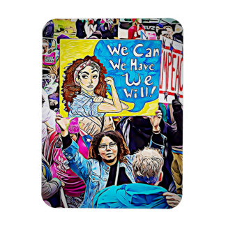 """Impeach Trump, """"We Can"""" Women's March Protester Magnet"""