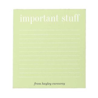 Important stuff tea green lined memo pad