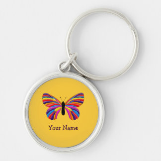 Impossible Butterfly Silver-Colored Round Keychain