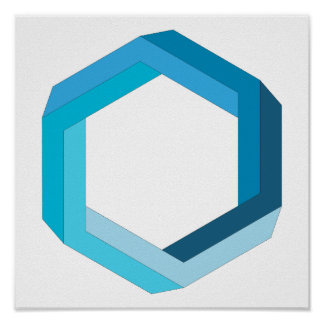 Impossible geometry: Blue hexagon. Poster