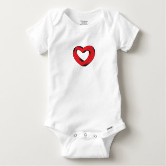 impossibly twisted heart baby onesie