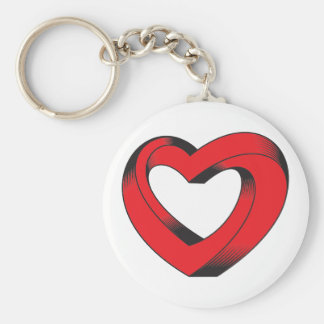 impossibly twisted heart basic round button keychain
