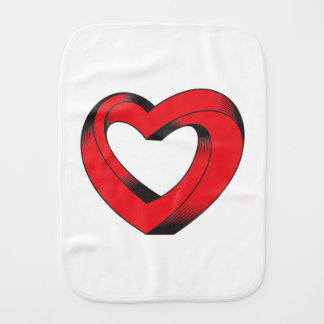 impossibly twisted heart burp cloth