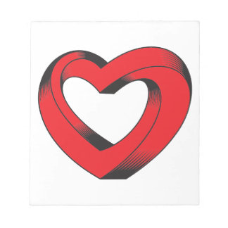 impossibly twisted heart notepad