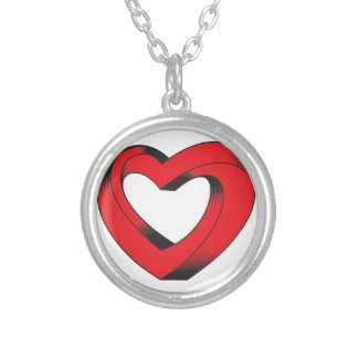 impossibly twisted heart silver plated necklace