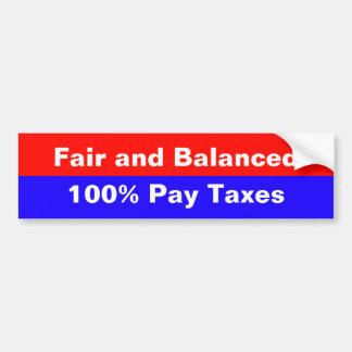 Impôts justes et équilibrés autocollant de voiture