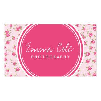 Impression florale vintage chic rose carte de visite standard