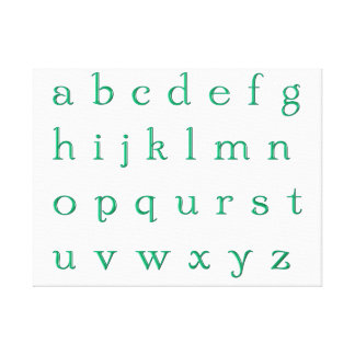 Impression on fabric green alphabet canvas print