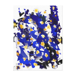 "Impression on fabric, small size, ""Blue Flowers "" Canvas Print"