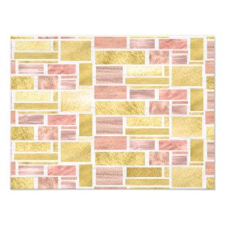 Impression Photo Blocs roses de feuille d'or d'or à la mode