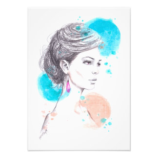 Impression Photo Femme avec le croquis d'illustration de mode de