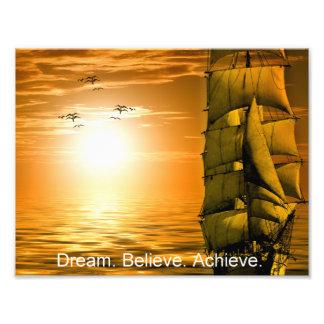 Impression Photo le rêve croient réalisent la citation de