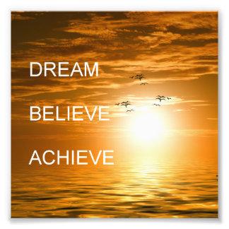 Impression Photo le rêve croient réalisent la citation inspirée