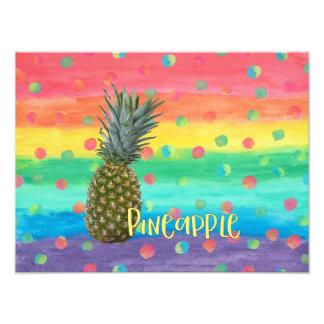 Impression Photo Rayures et points à la mode d'arc-en-ciel d'ananas