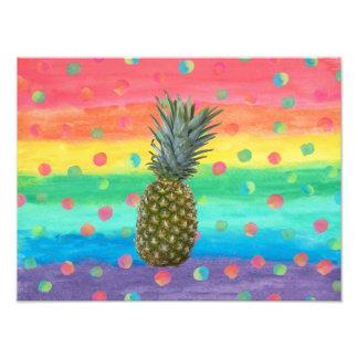 Impression Photo Rayures et taches modernes d'aquarelle d'ananas