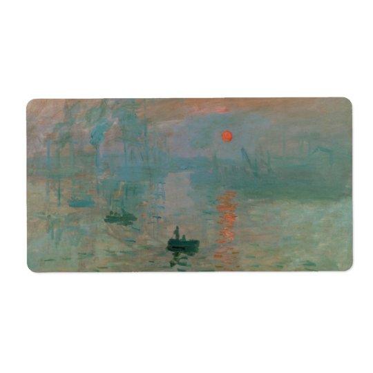 Impression, Soleil Levant by Claude Monet 1872 Shipping Label