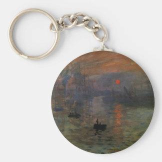 Impression Sunrise by Claude Monet, Vintage Art Basic Round Button Keychain