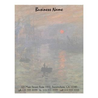 Impression Sunrise by Claude Monet, Vintage Art Letterhead