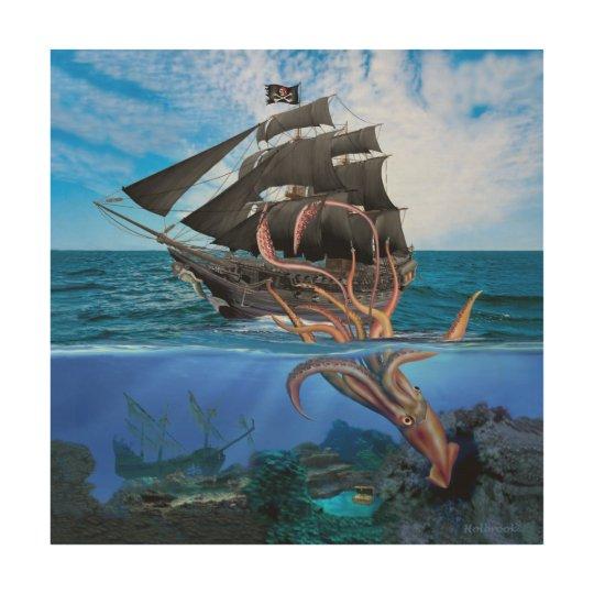 impression sur bois bateau de pirate contre le calmar. Black Bedroom Furniture Sets. Home Design Ideas
