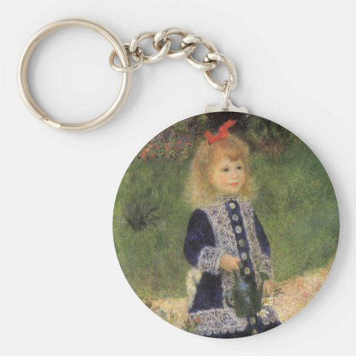 Impressionism, A Girl with Watering Can by Renoir Basic Round Button Keychain