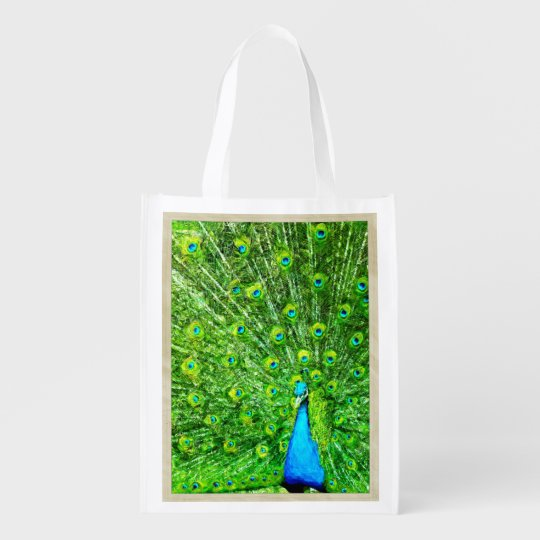 Impressionism Green and Blue Peacock Reusable Grocery Bag