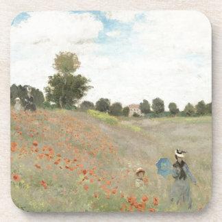 Impressionism Monet Poppy Field Flowers Coaster