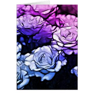 impressionism Shabby Chic Blue Purple Roses Card