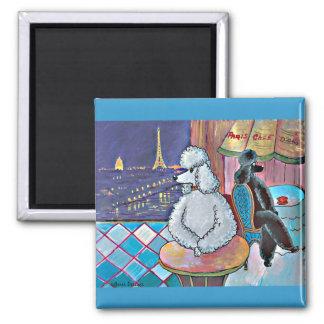 Impressionist Art Poodles Paris Cafe Magnets
