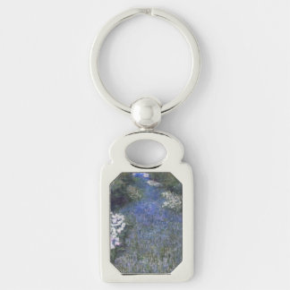 Impressionist Blue Forest Path Silver-Colored Rectangle Keychain