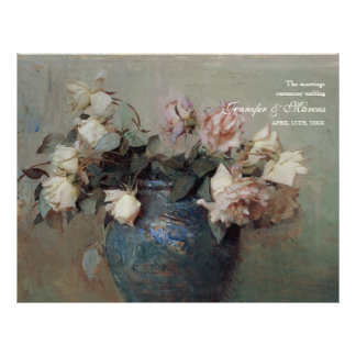 Impressionist Cream Pink Roses - Wedding Program Custom Flyer