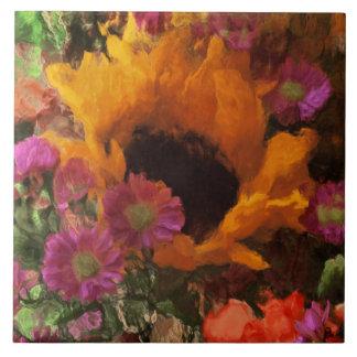 Impressionist Floral Bouquet Ceramic Tile