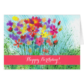 Impressionist Flowers Custom Birthday Card
