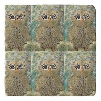 """Impressionist Owl Cute and Whimsical"" Trivet"