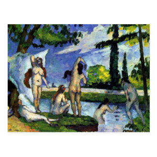 Impressionist painting by Cezanne bathers in river Postcard