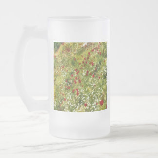 Impressionist Poppies Frosted Glass Beer Mug