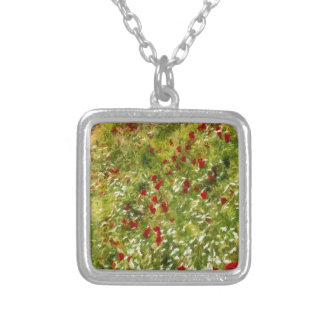Impressionist Poppies Silver Plated Necklace