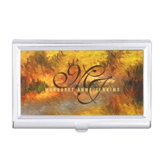 Impressionistic Golden Hues Monogrammed Business Card Cases