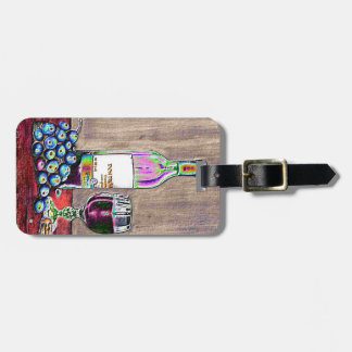Impressionistic Wine and Grapes Art Luggage Tag