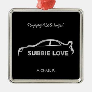 """Impreza STI Silver """"Subie Love"""" Christmas Ornament"""