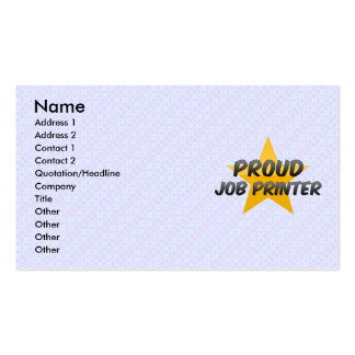 Imprimante de travail fière cartes de visite personnelles