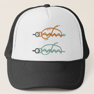 Improved clinch knot diagram two color version trucker hat
